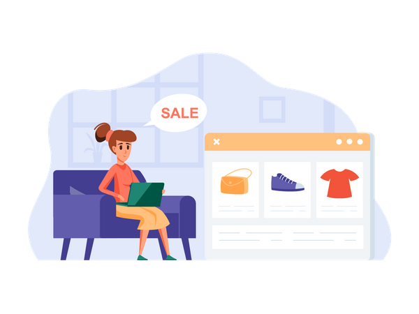 Woman doing shopping in online shopping sale Illustration