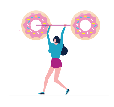 Woman Doing Shoulder Press Exercise With A Donut Weight Bar Illustration