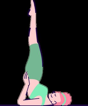 Woman doing supported shoulderstand Illustration