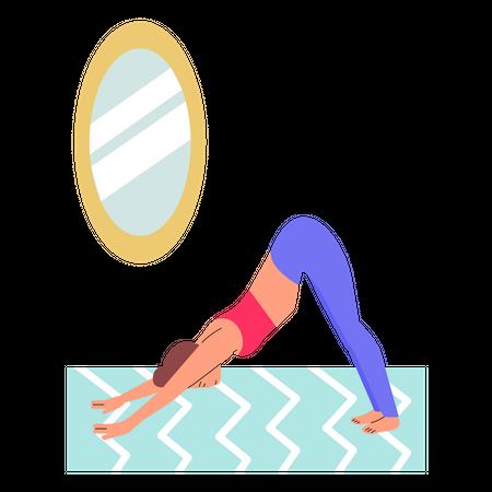 Woman doing yoga asana at home Illustration