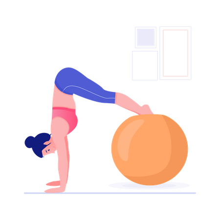 Woman doing yoga using large rubber ball Illustration