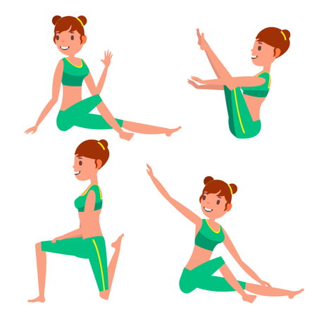 Woman Doing Yoga With Different Poses Illustration