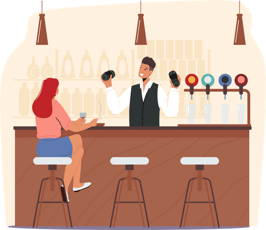 Woman drinking alcohol at bar Illustration