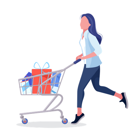 Woman drive a shopping basket with lots of purchased goods Illustration