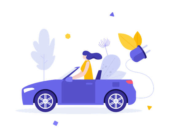 Woman driving electric car Illustration