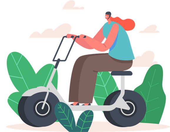 Woman Driving Electric Scooter Illustration