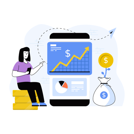 Woman earning through passive income Illustration