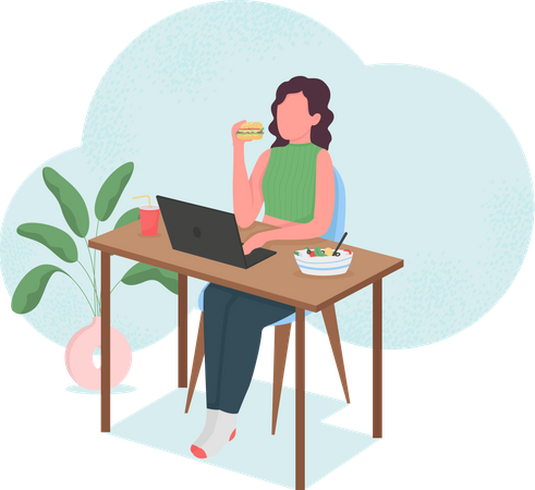 Woman eating at computer desk Illustration