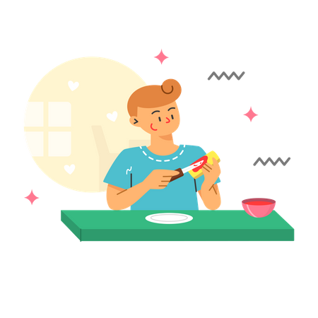 Woman eating bread and jam Illustration