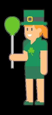 Woman elf Holding Balloon Illustration