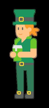 Woman elf holding beer Illustration