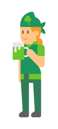 Woman elf holding Beer glass Illustration
