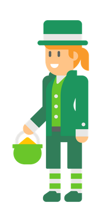 Woman elf Holding Coins bowl Illustration