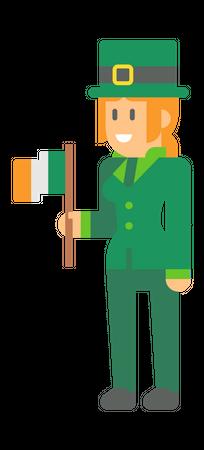 Woman elf with flag Illustration