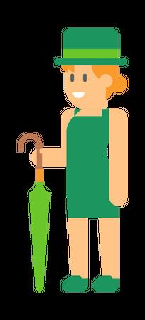 Woman elf with green Umbrella Illustration