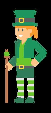 Woman elf with stick Illustration
