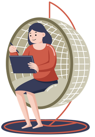 Woman Employee working from home while seating on couch Illustration