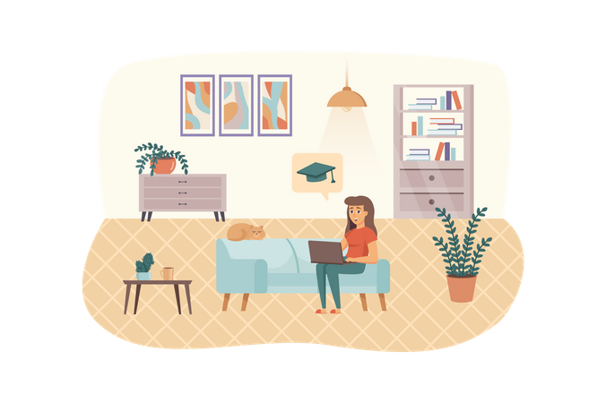 Woman engaged online education sitting on couch with laptop and cat in living room Illustration