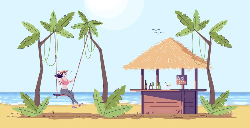 Woman enjoying on swing Illustration