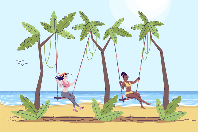 Woman enjoying on swing with friend Illustration