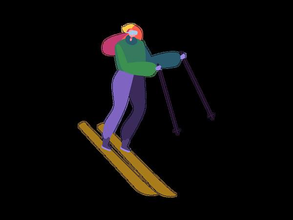 Woman enjoying ski ride Illustration