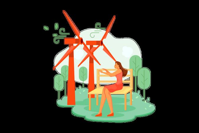 Woman enjoying wind at windfarm Illustration