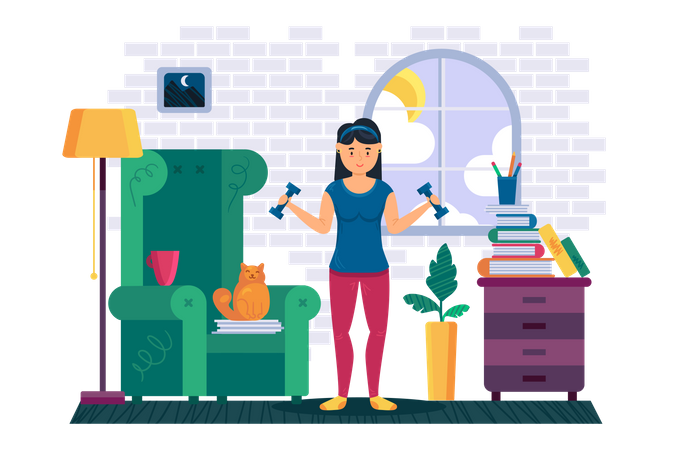 Woman exercising at home Illustration