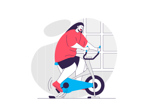 Woman exercising on gym cycle Illustration