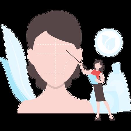 Woman explaining female cosmetics use on face Illustration