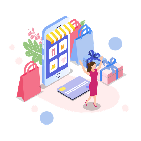 Woman feels happy by online shopping Illustration