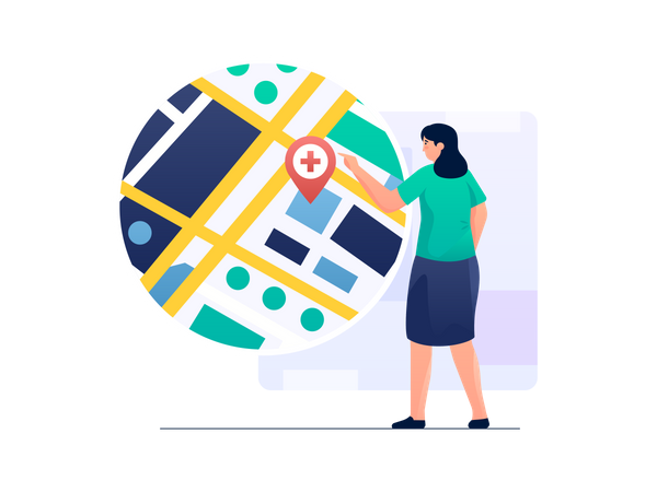 Woman Finding Best Hospital Near Your Location Illustration