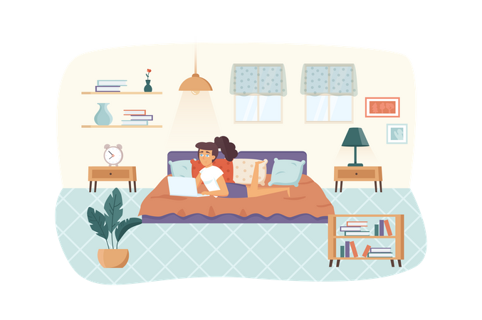 Woman freelancer working at laptop, lying on bed in bedroom at home scene. Freelance, remote work, self employed, comfy workplace concept. Vector illustration of people characters in flat design Illustration