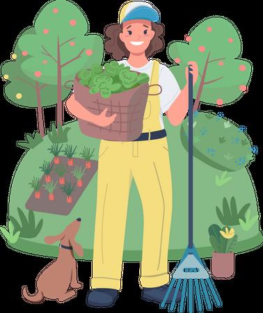 Woman gardener Illustration
