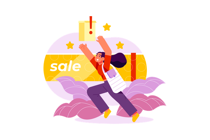 Woman getting discount at online shopping Illustration