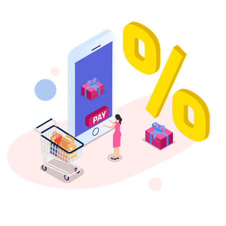 Woman getting discount by online payment Illustration