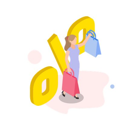 Woman getting discount on shopping Illustration