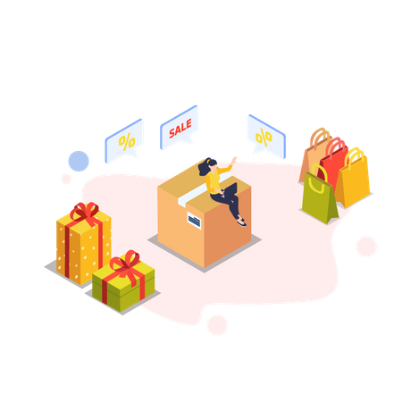 Woman getting online gifts Illustration