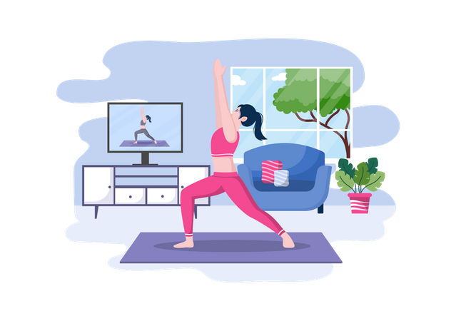 Woman Getting Online Yoga and Meditation Lessons Illustration