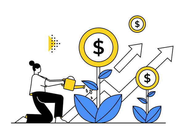 Woman getting profit from investment Illustration
