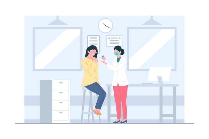 Woman Getting Vaccinated Illustration
