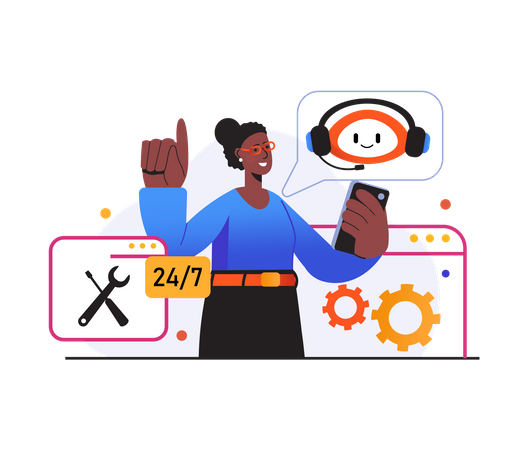 Woman giving call support with help of chatbot Illustration
