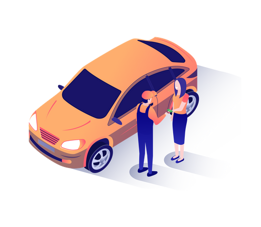 Woman Giving Cash for Repaired Car to repairman Illustration