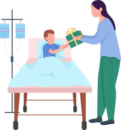 Woman giving gift to child Illustration