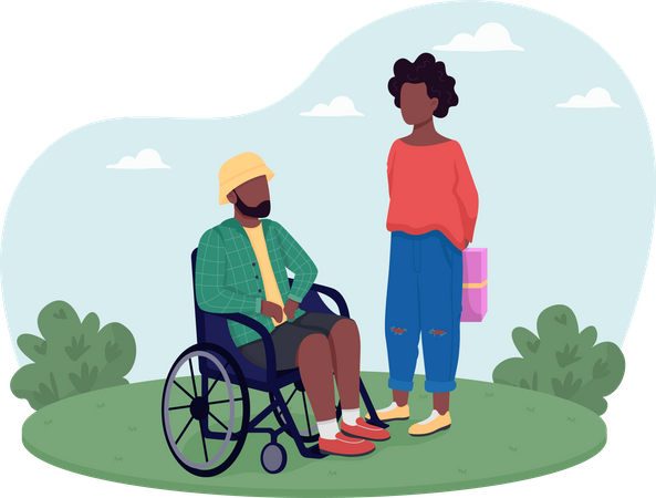 Woman giving gift to disabled man Illustration