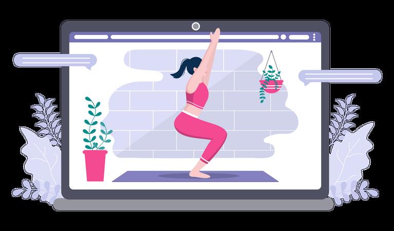 Woman Giving Online Yoga Classes Illustration