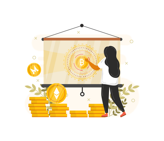 Woman giving presentation on Cryptocurrency Illustration