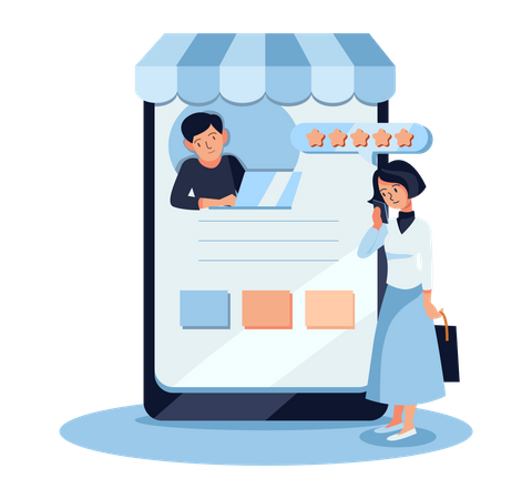 Woman giving product review Illustration