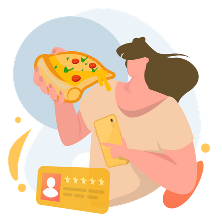 Woman giving review to order Illustration