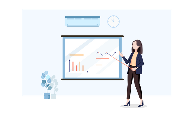 Woman giving training to new employee Illustration