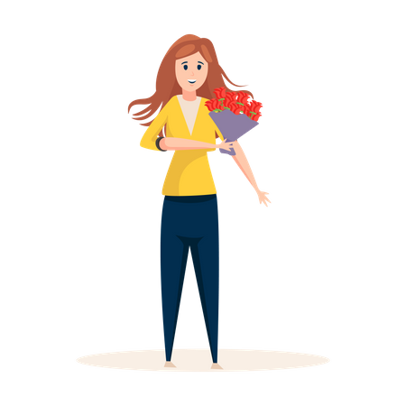 Woman going for date with bouquet Illustration